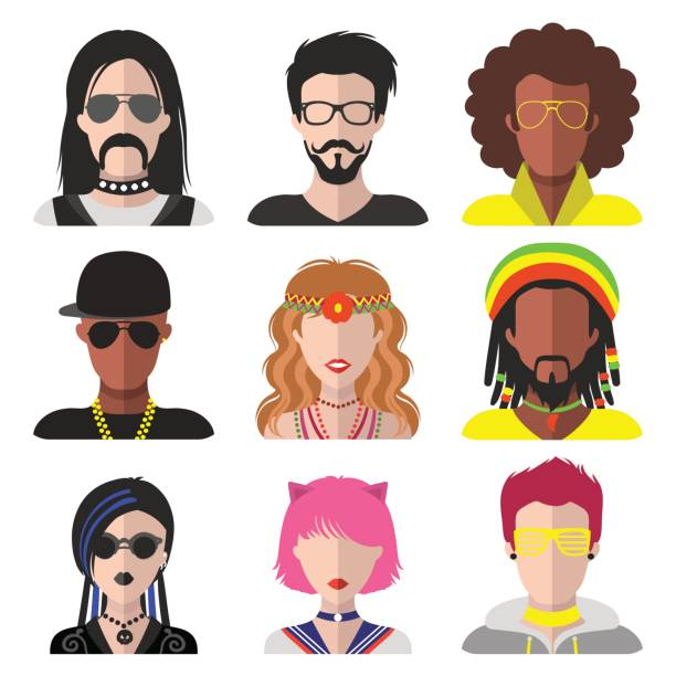 Vector set of different subcultures man and woman app icons in flat style. Goth, raper, hippy, hipster etc. web images. vector art illustration