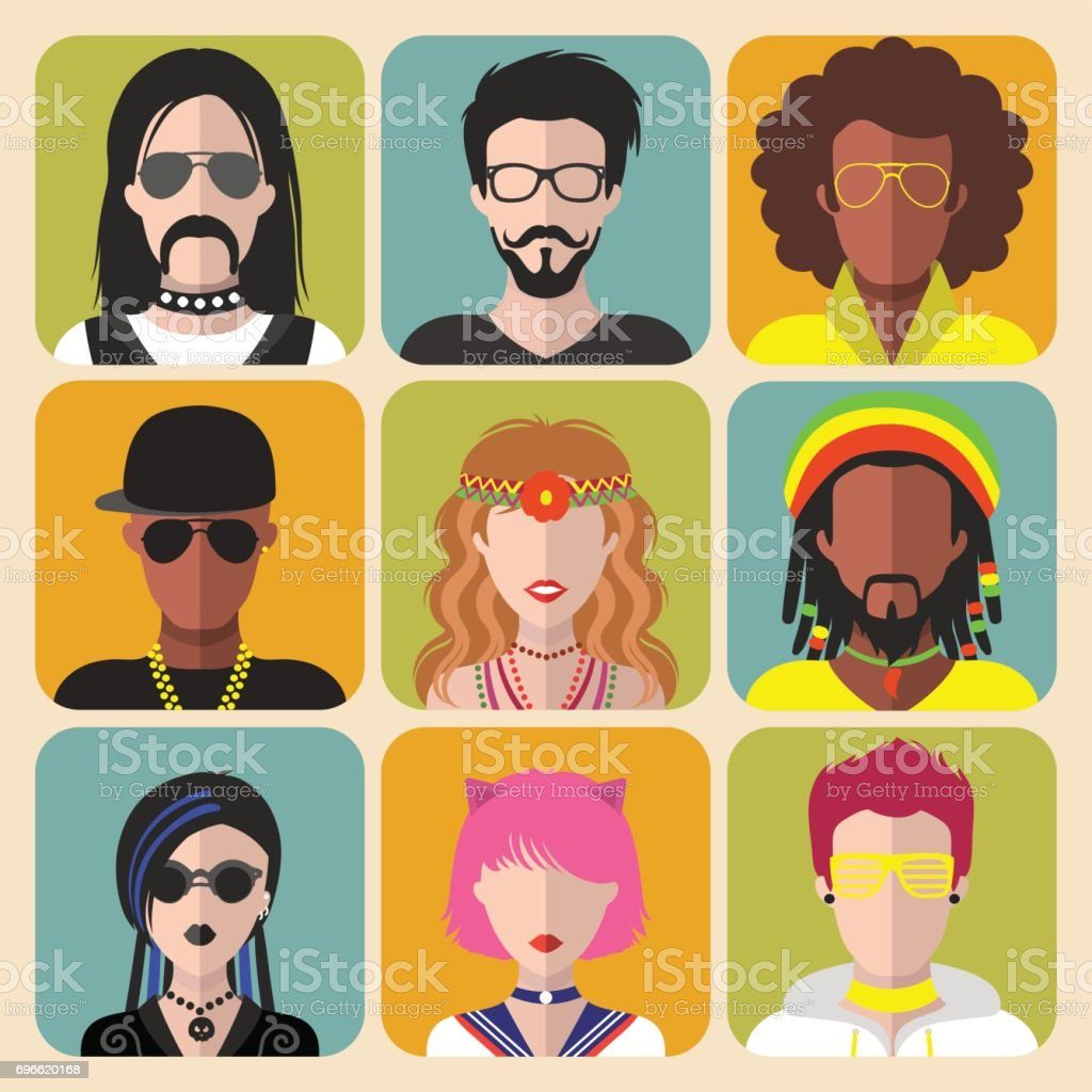 Vector set of different subcultures man and woman app icons in trendy flat style. Goth, raper, hippy, hipster,raver etc. vector art illustration