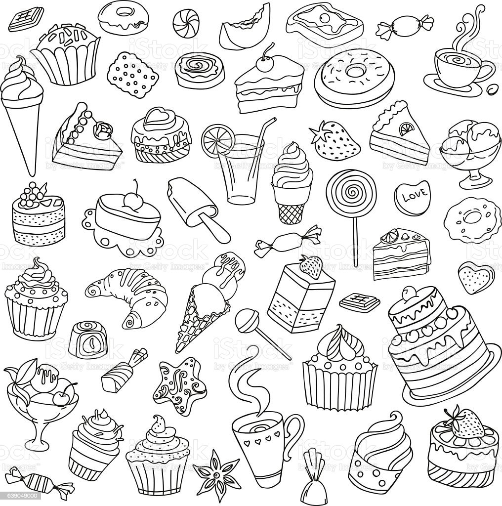 vector set of different sweets いたずら書きのベクターアート素材や