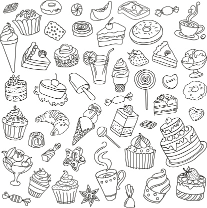 Vector set of different sweets