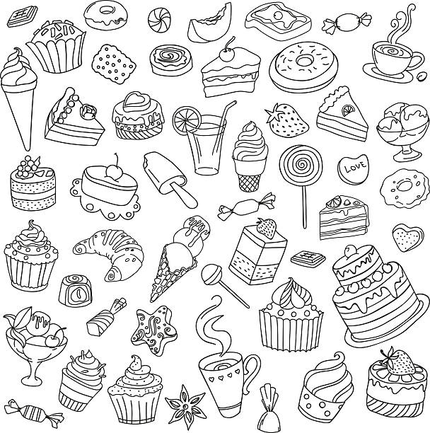 ilustraciones, imágenes clip art, dibujos animados e iconos de stock de vector set of different sweets - postre