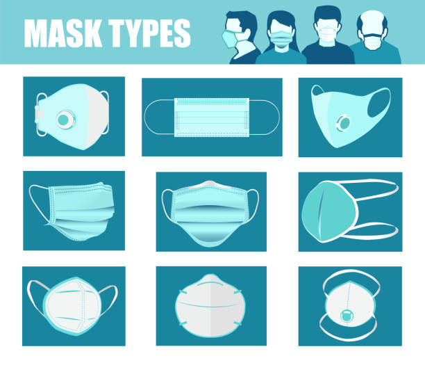 ilustrações de stock, clip art, desenhos animados e ícones de vector set of different types of face masks. - ffp2