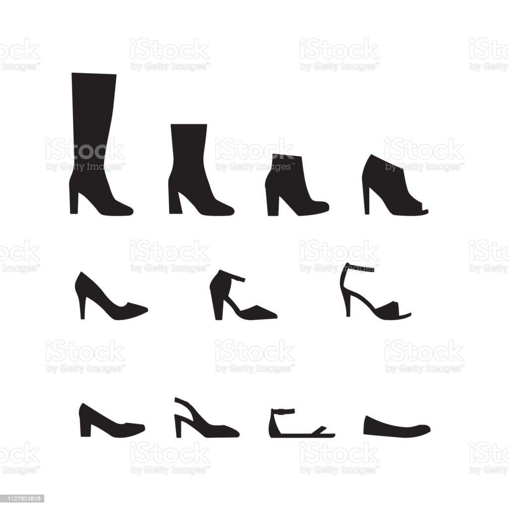 Vecteur Série De Différents Types De Silhouettes De Chaussures Femmes  Femmes Vecteurs libres de droits et plus d'images vectorielles de Bottes -  iStock