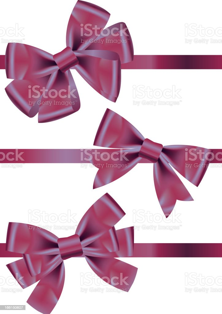Vector set of different types  purple satin ribbons with bows royalty-free vector set of different types purple satin ribbons with bows stock vector art & more images of archery bow