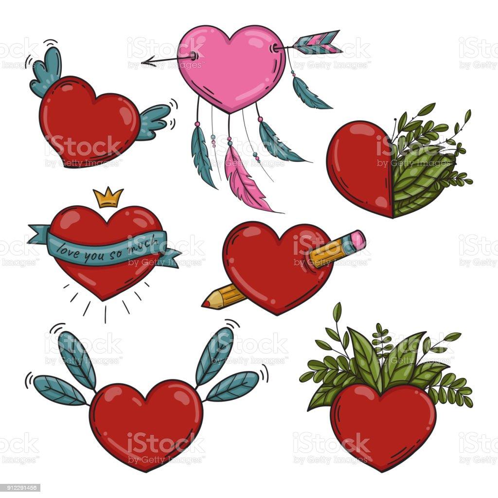 Vector set of different Valentines hearts vector art illustration