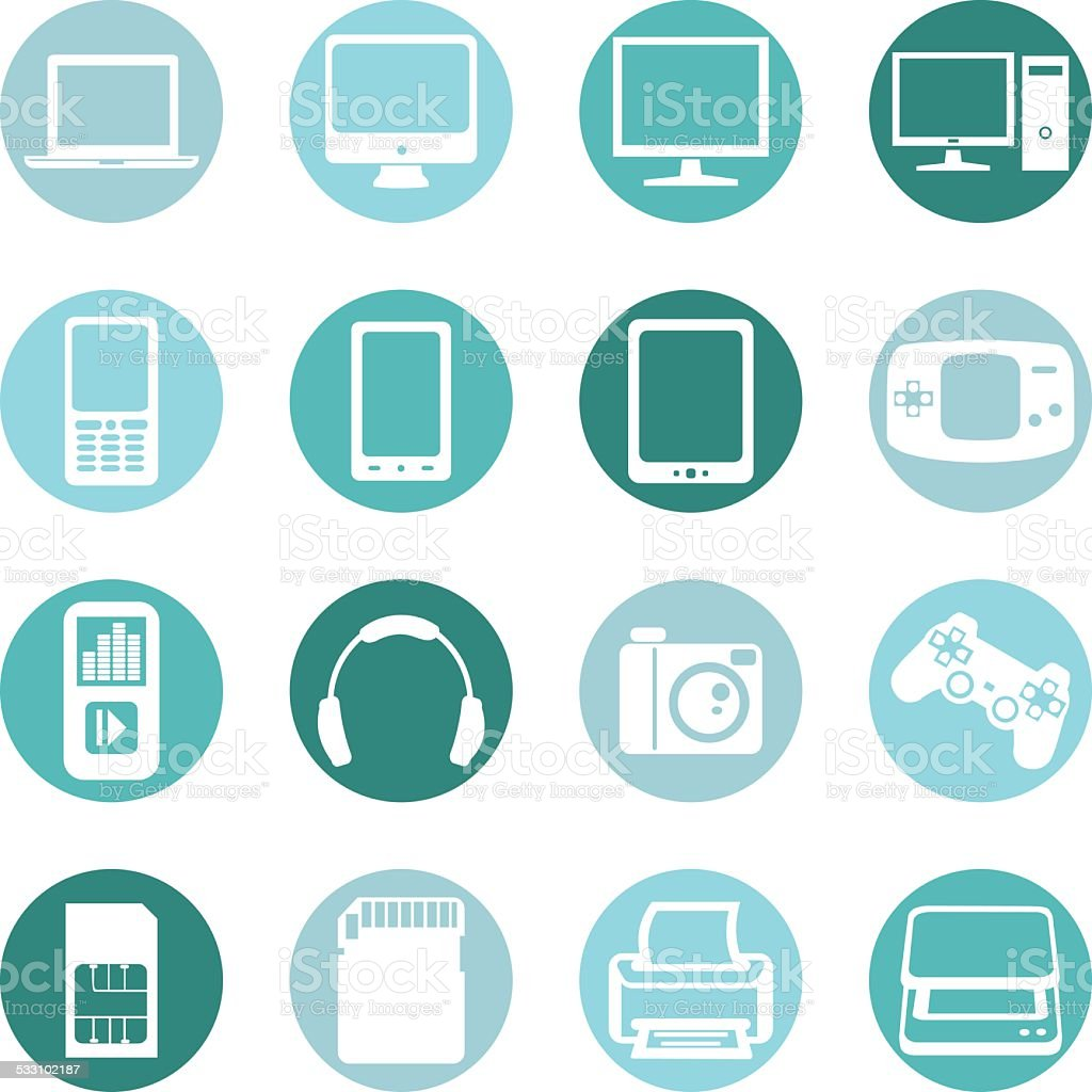 Vector Set of Digital Devices Icons vector art illustration