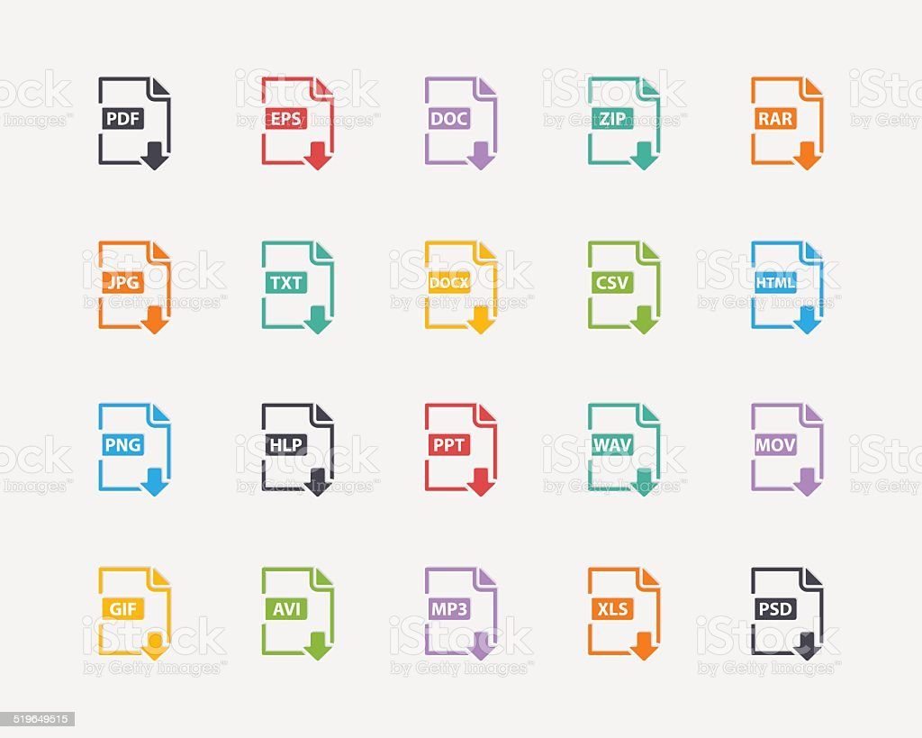 Vector set of Document File Formats and Labels color icons vector art illustration