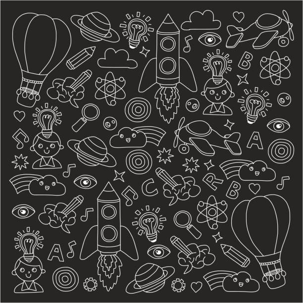 Vector set of doodle icons Blackboard chalk background - creativity and inspiration, idea and imagination, innovation and discovery, think outside the box vector art illustration