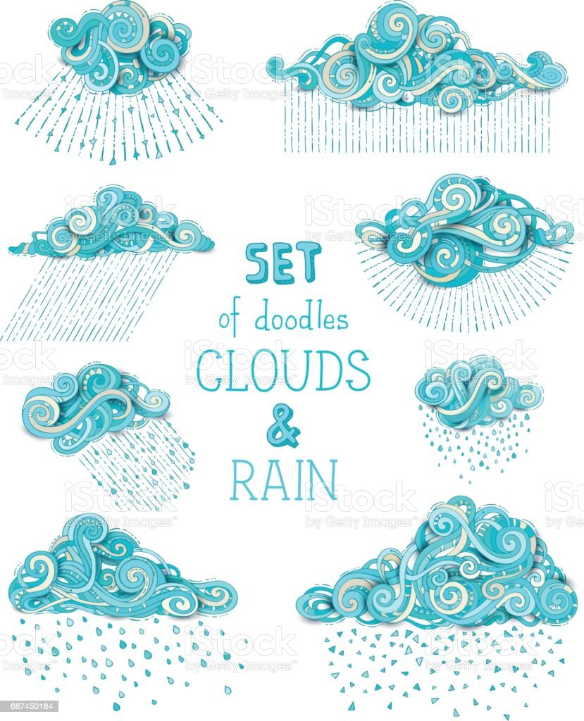 Vector set of doodles clouds and rain. vector art illustration