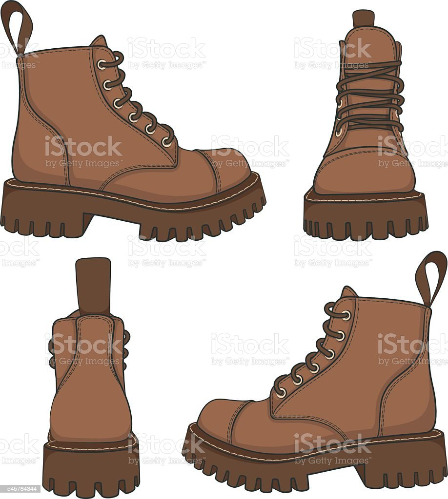 Vector set of drawings with brown boots. vector art illustration