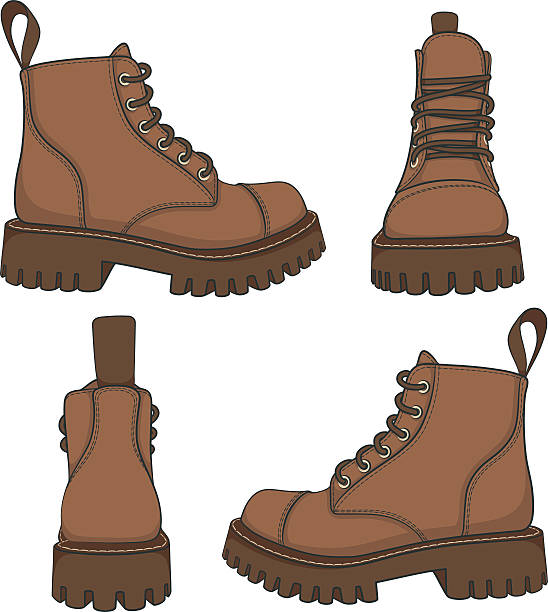 vector set of drawings with brown boots. - boot stock illustrations