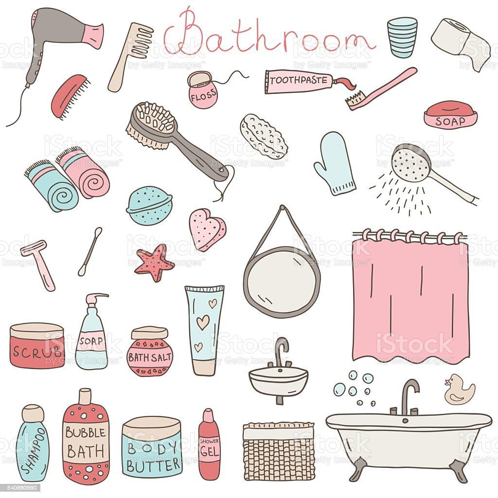 Vektor ein satz von handgezeichneten Stil Objekte und appliences Badezimmer – Vektorgrafik