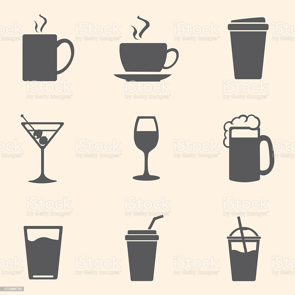 Vector Set of Drinks Icons vector art illustration