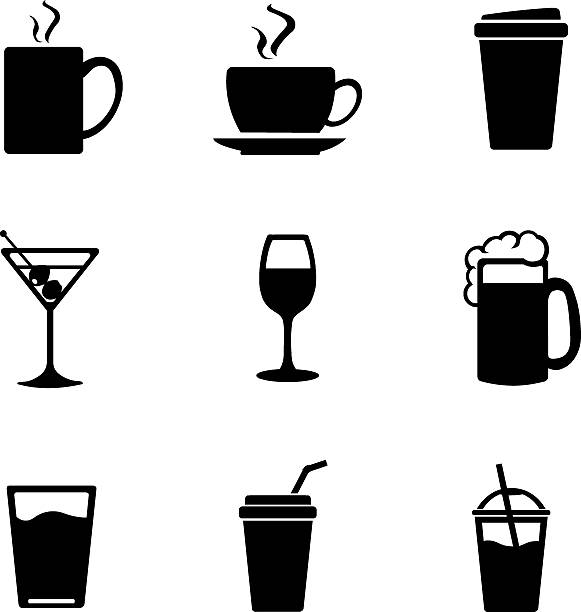 vector set of drinks icons - refreshment stock illustrations, clip art, cartoons, & icons