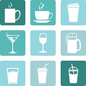 Vector Set of Drinks Icons. Tea, Coffee, Alcohol, Martini, Wine, Beer, Mineral Water, Fizzy Water, Smoothie, Cocktail.