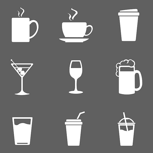 Vector Set of Drinks Icons Vector Set of Drinks Icons. Tea, Coffee, Alcohol, Martini, Wine, Beer, Mineral Water, Fizzy Water, Smoothie, Cocktail. tea room stock illustrations