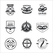 Vector set of drone flying club labels, badges, design elements.