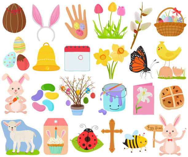 Vector set of Easter holiday, spring season in cute colorful theme. Collection of animal, flower, food icons in pastel color vector art illustration