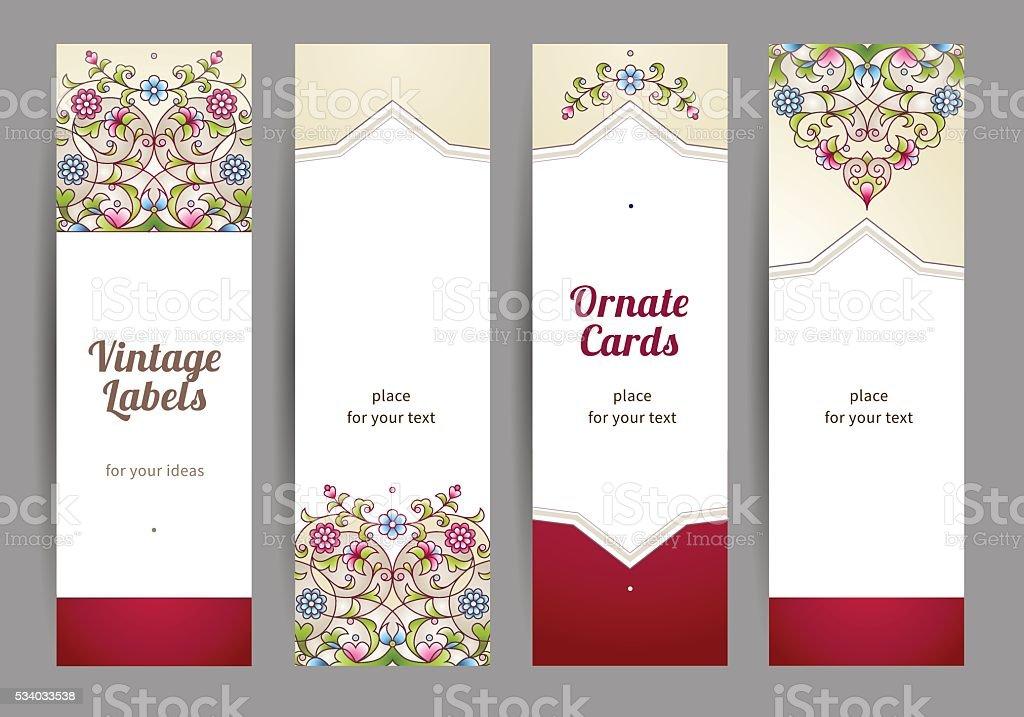 Vector set of  Eastern floral card. vector art illustration