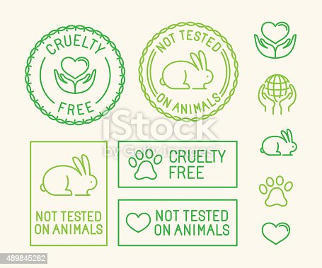 Vector set of ecology badges and stamps for packaging - not tested on animals and cruelty free - icons in trendy linear style