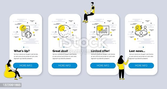 istock Vector Set of Education icons related to Time change, Analytical chat and Internet document. Vector 1323991865