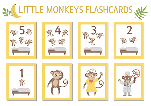 Vector set of educational flashcards with cute five little monkeys, mommy, doctor, bed. Funny nursery rhyme and song illustration. Bright printable cards for teaching counting. Jungle summer clip art