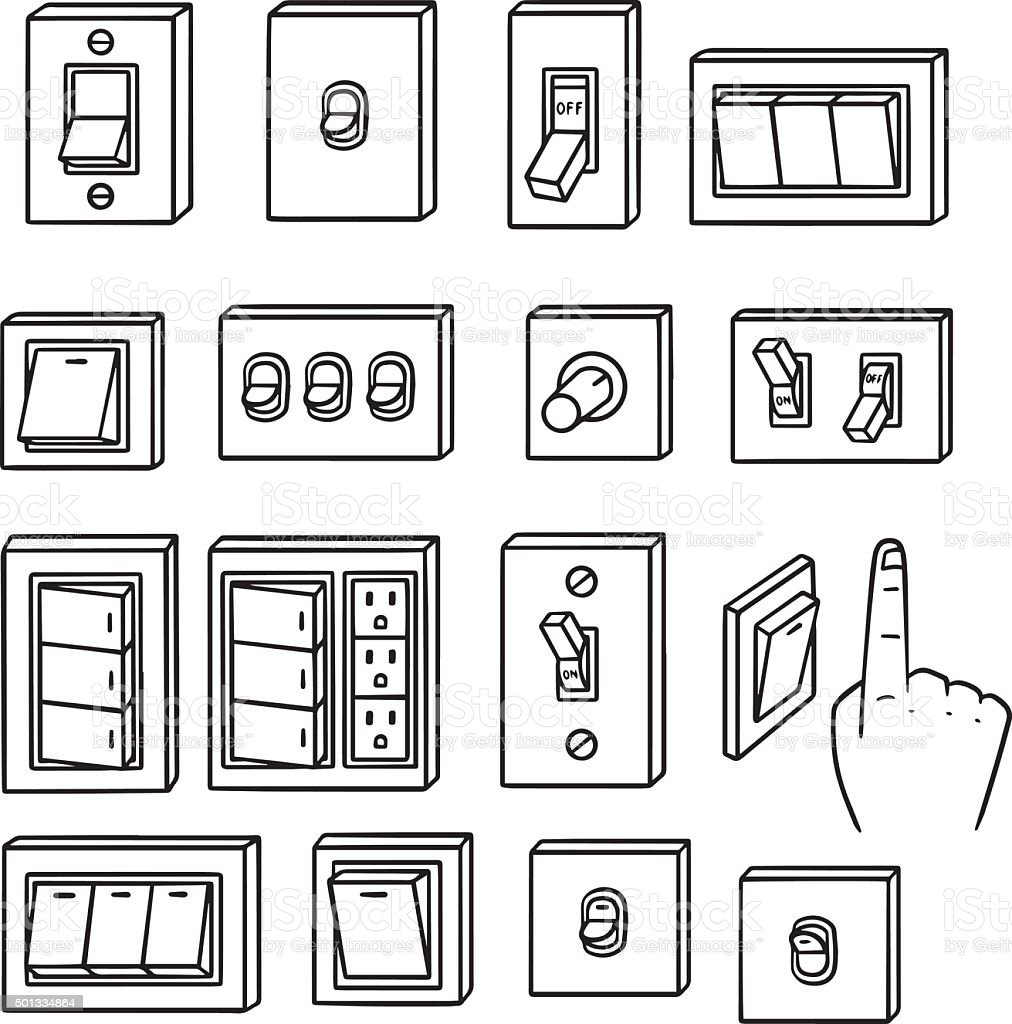 vector set of electric switch vector art illustration