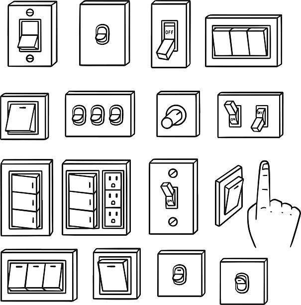 ilustraciones, imágenes clip art, dibujos animados e iconos de stock de vector conjunto de interruptor fotoeléctrico - interruptor