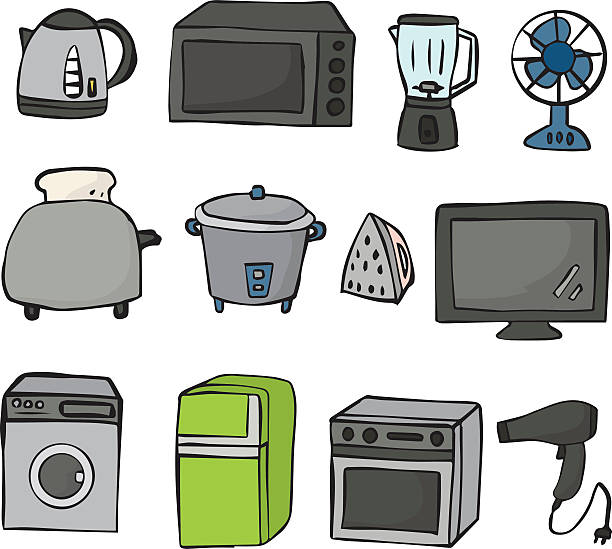 Wektor Zestaw urządzenia elektryczne – artystyczna grafika wektorowa