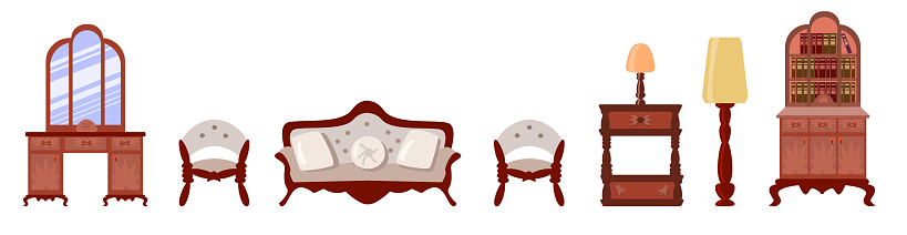 Vector Set of elegant antique furniture in a flat style. Nice antique nightstand, a bookcase with books, a floor lamp,  vanity, lamp, a cozy sofa, chair are isolated on a white background.