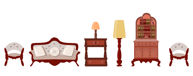 Vector Set of elegant antique furniture in a flat style.Nice antique nightstand, a bookcase with books, a floor lamp, a table lamp, a cozy sofa, a comfortable chair are isolated on a white background.