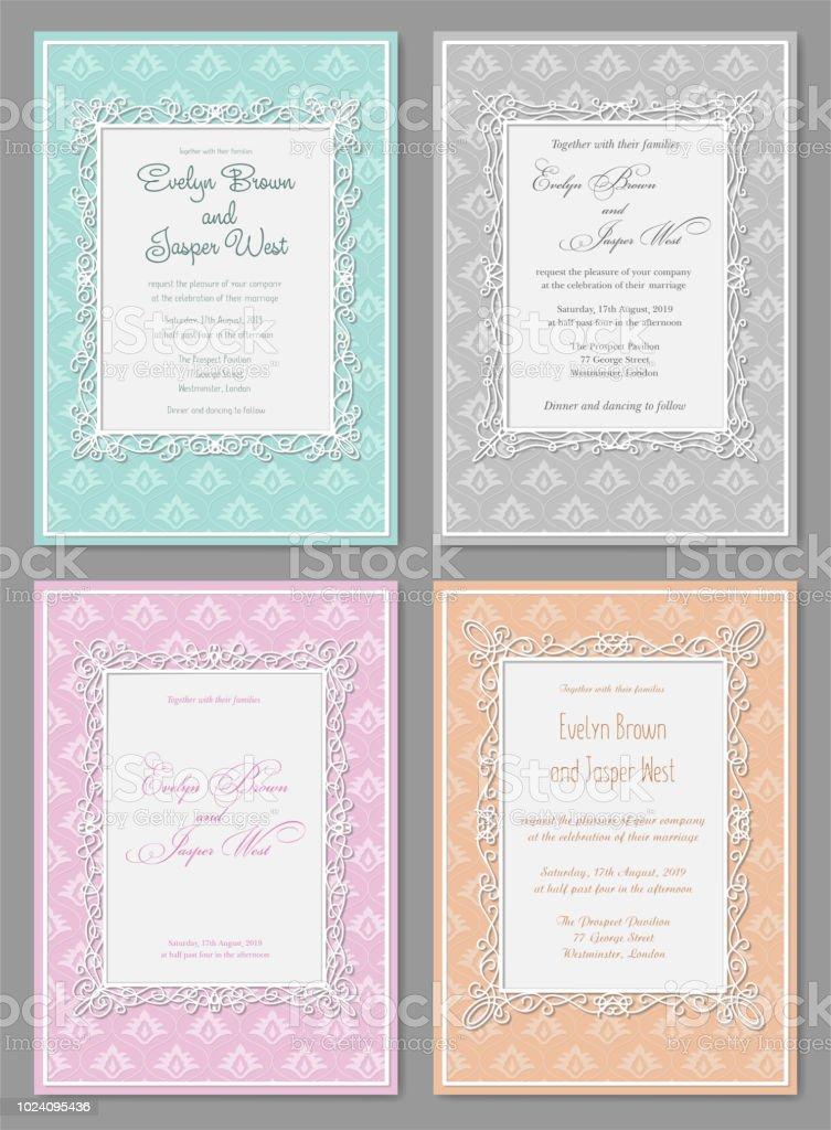 Vector Set Of Elegant Wedding Invitation In Pastel Colors