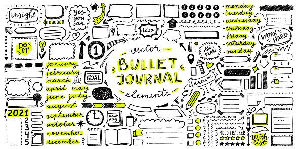 vector set of elements for bullet journal