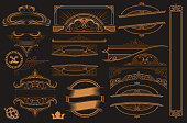 Vector set of vintage elements for design. All elements are in separate groups.