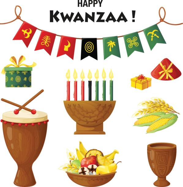 Vector set of elements on Kwanzaa celebration vector art illustration