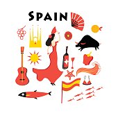 Vector set of elements to the theme of Spain on a white background
