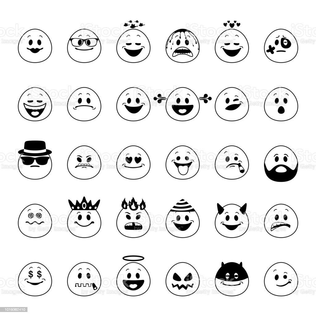 Vector set of emoji vector art illustration
