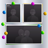 Vector set of empty photo frames with colorful magnets on the fridge.