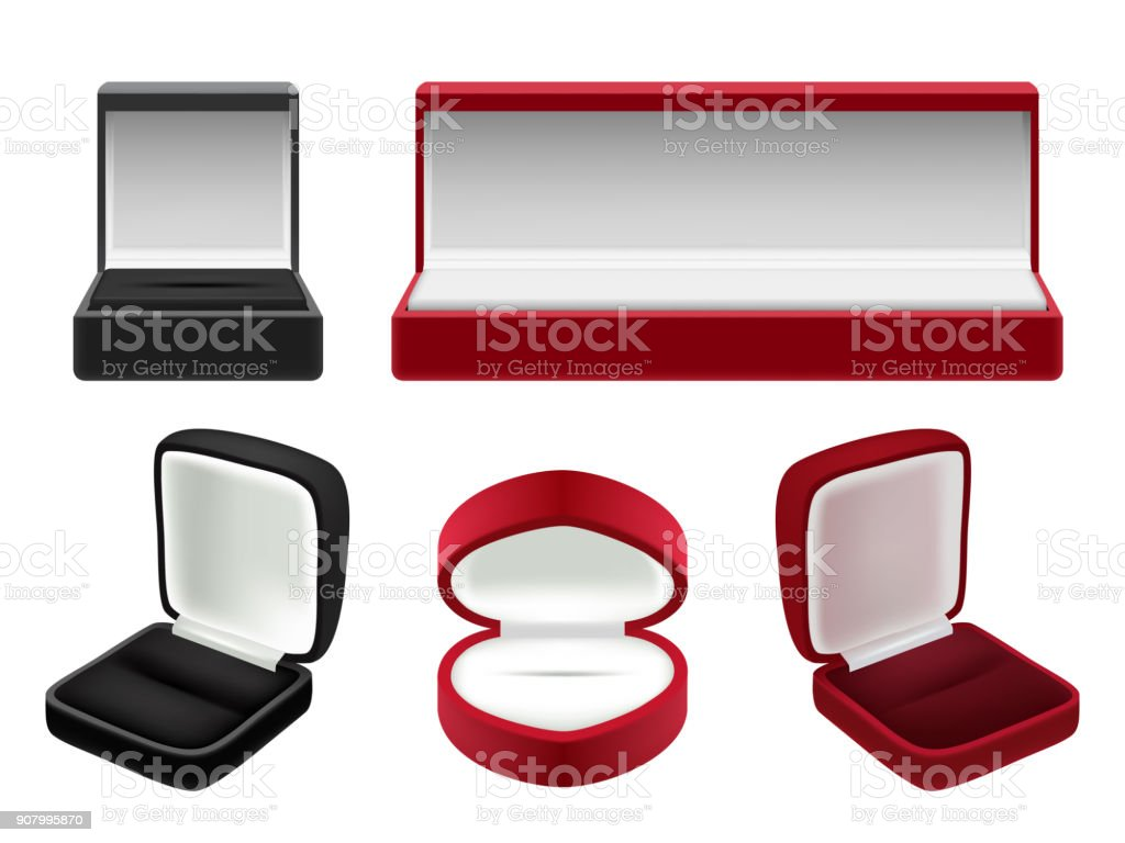 Vector Set Of Empty Red And Black Velvet Opened Jewelry ...