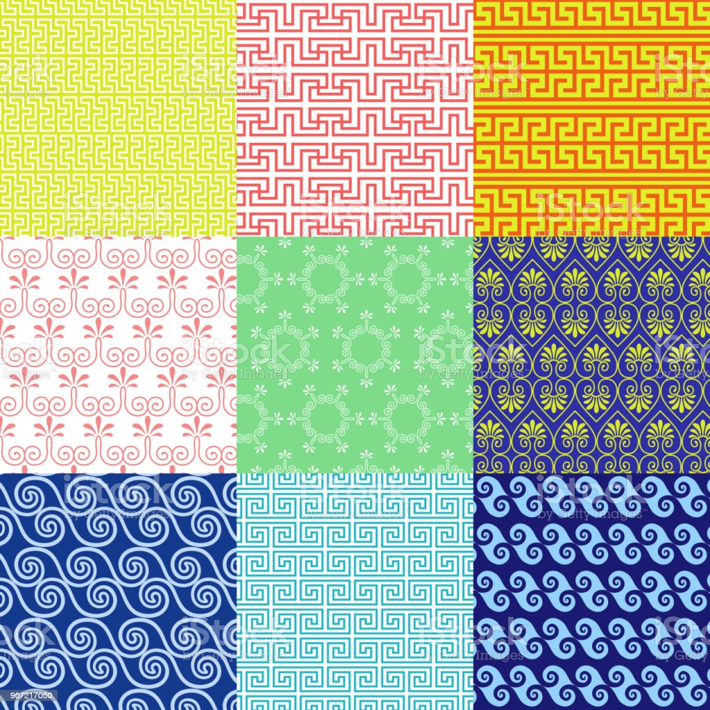 Vector set of ethnic Greek geometric and floral patterns vector art illustration
