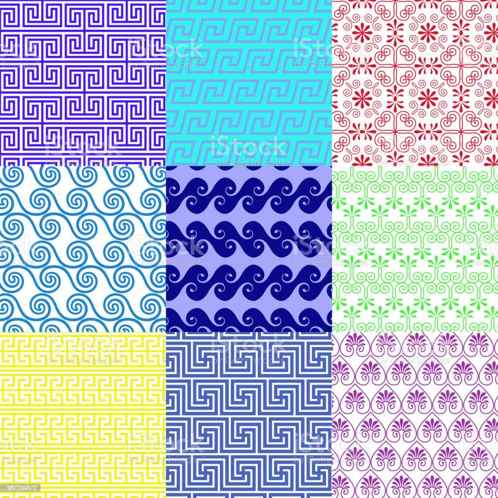 Vector set of ethnic Greek geometric seamless patterns vector art illustration