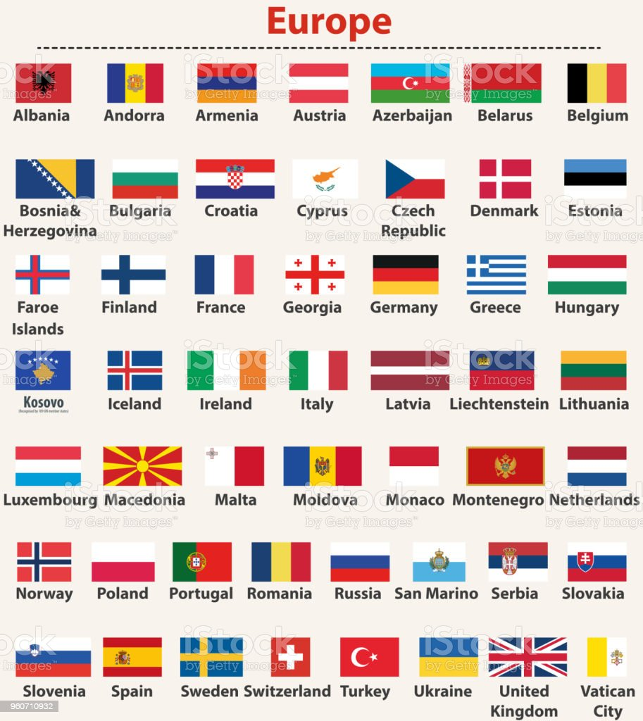 vector set of european flags arranged in alphabetical order vector art illustration