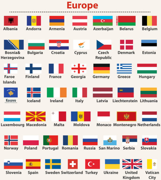 vector set of european flags arranged in alphabetical order - macedonia country stock illustrations, clip art, cartoons, & icons