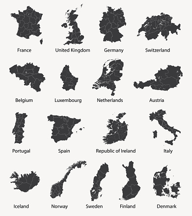 vector set of european maps with region borders