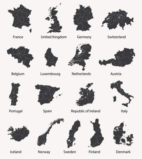 vector set of european maps with region borders vector art illustration