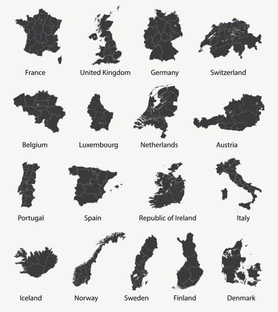 ilustrações de stock, clip art, desenhos animados e ícones de vector set of european maps with region borders - portugal map