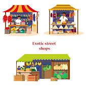 Vector set of exotic street shops with sellers in flat cartoon style. Spices, sweets and green grocery shops.