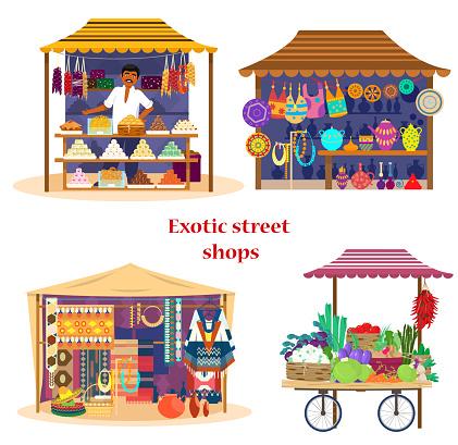 Vector set of exotic street shops
