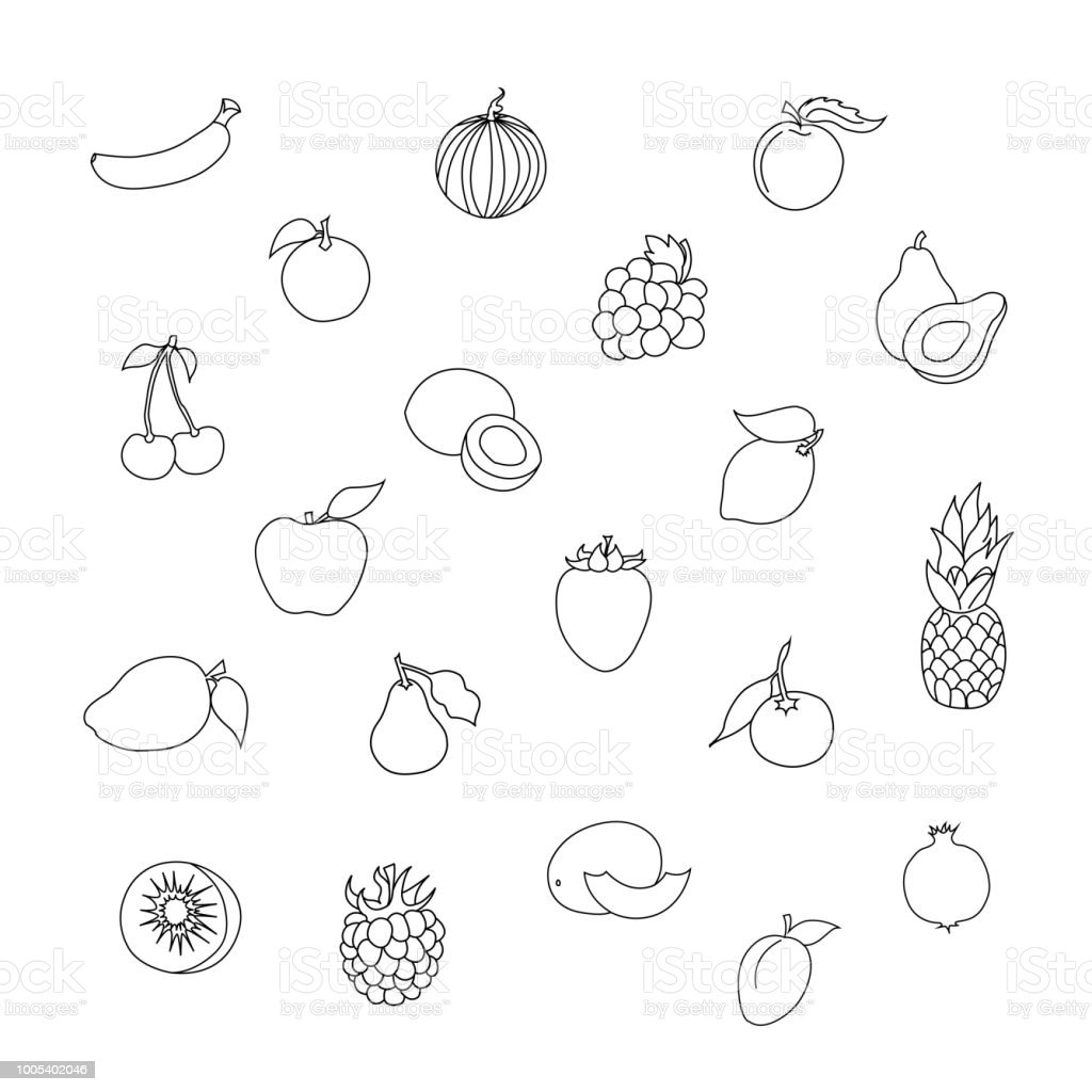 Vector Set Of Exotic Tropical Fruits And Healthy Raw Food For Kids