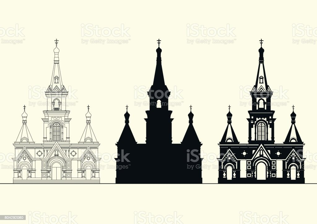 Vector set of facades of an old Orthodox church. vector art illustration
